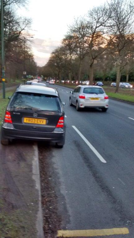 Car parked in cycle lane on Bristol Road