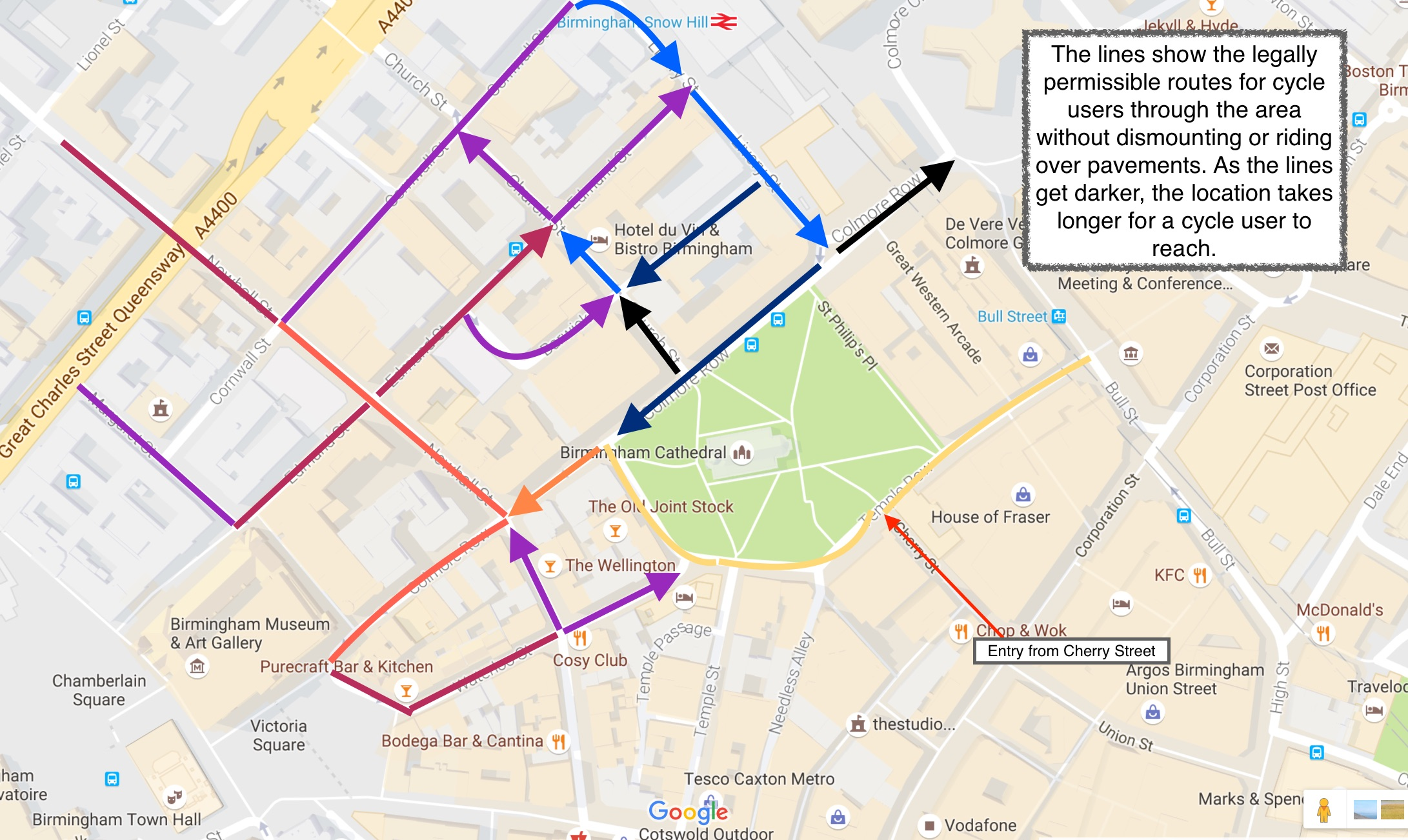 Cycle routes around Colmore Row approaching from Cherry Street