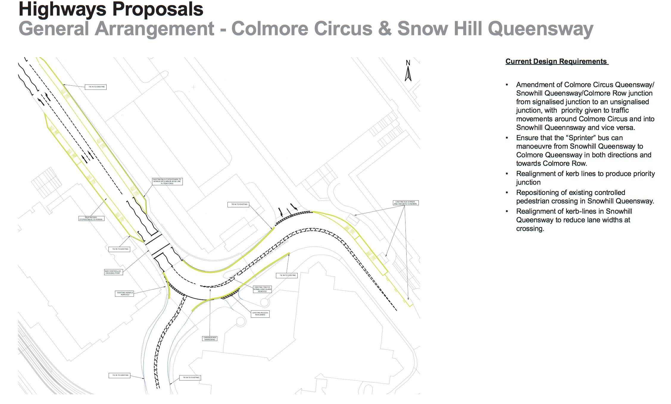 Plans showing the proposed changes to Colmore Circus