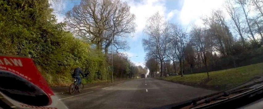 Cyclist on the first Bristol Road cycle lane