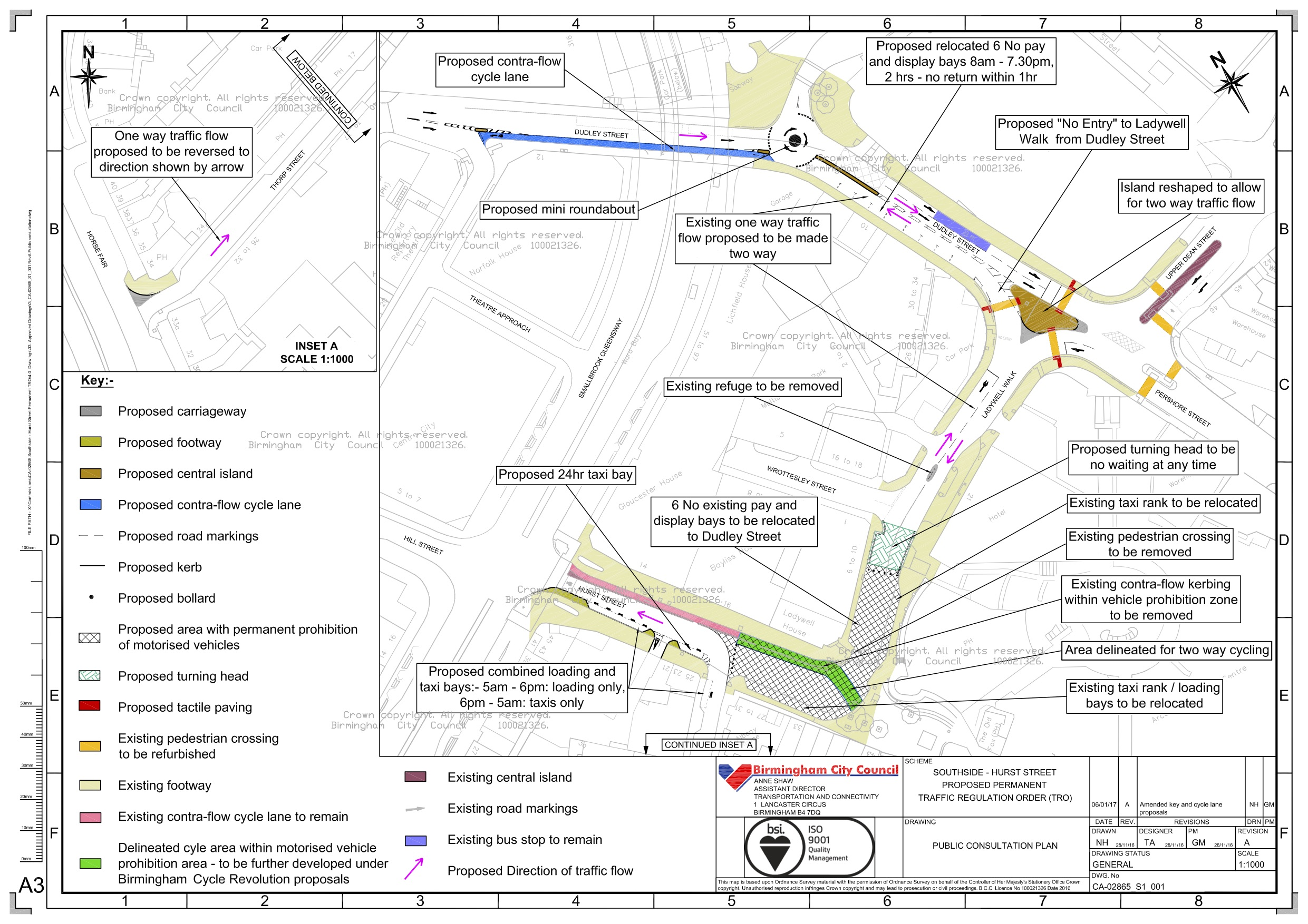 Highways diagram of the proposed changes at Hurst Street.