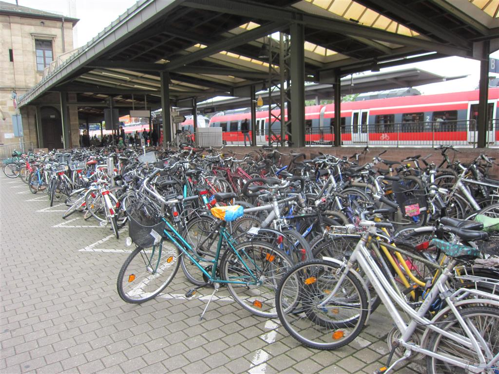 Cycle parking at Erlangen station