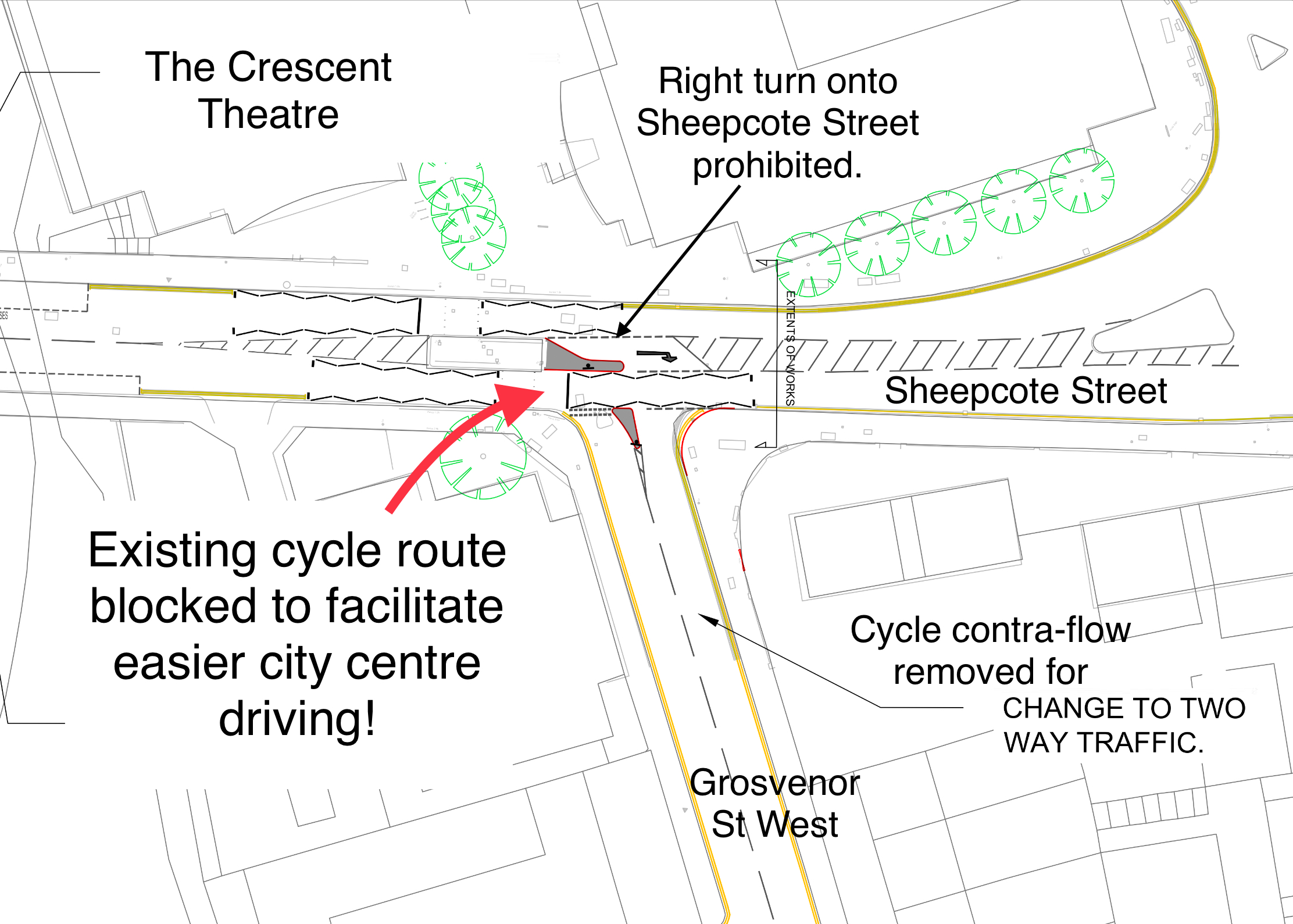 Proposed changes to Grosvenor St West cycle contra-flow