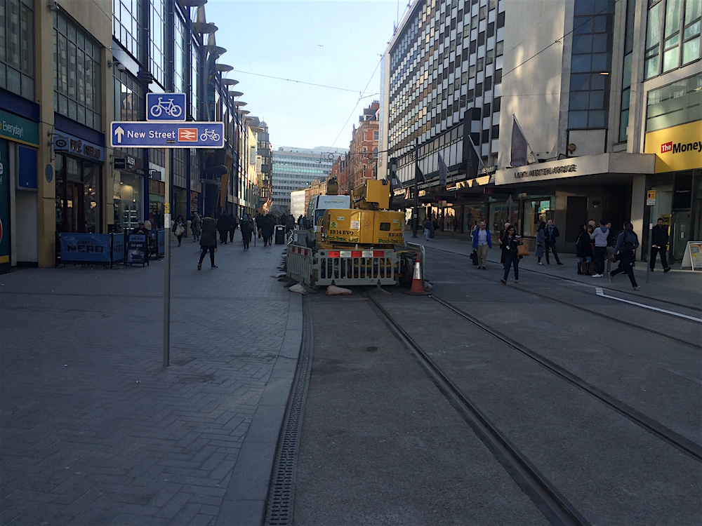 Looking down Corporation Street to New Street