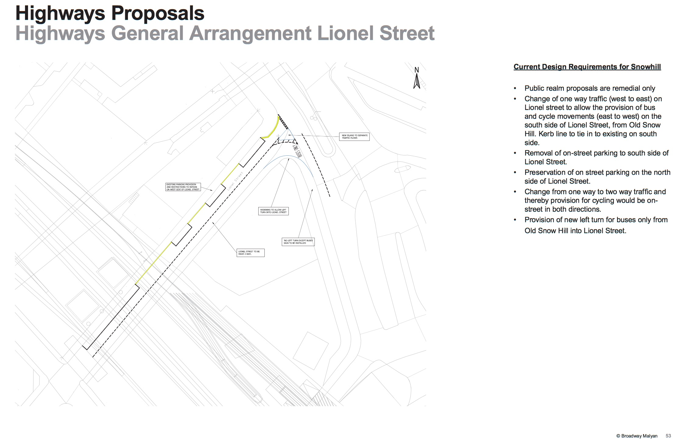 Proposals for a new bus gate at the entrance to Newhall Street