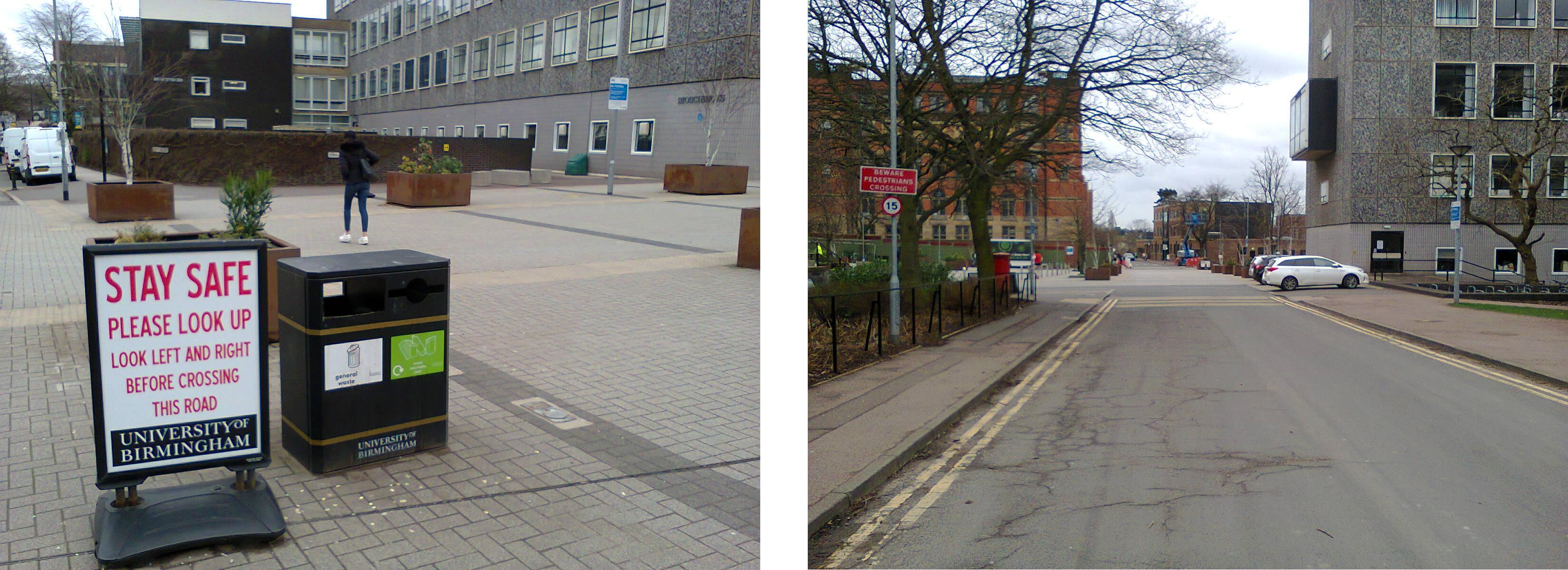 The signs in this Shared Space on the Birmingham University Campus are indicative of a failed idea
