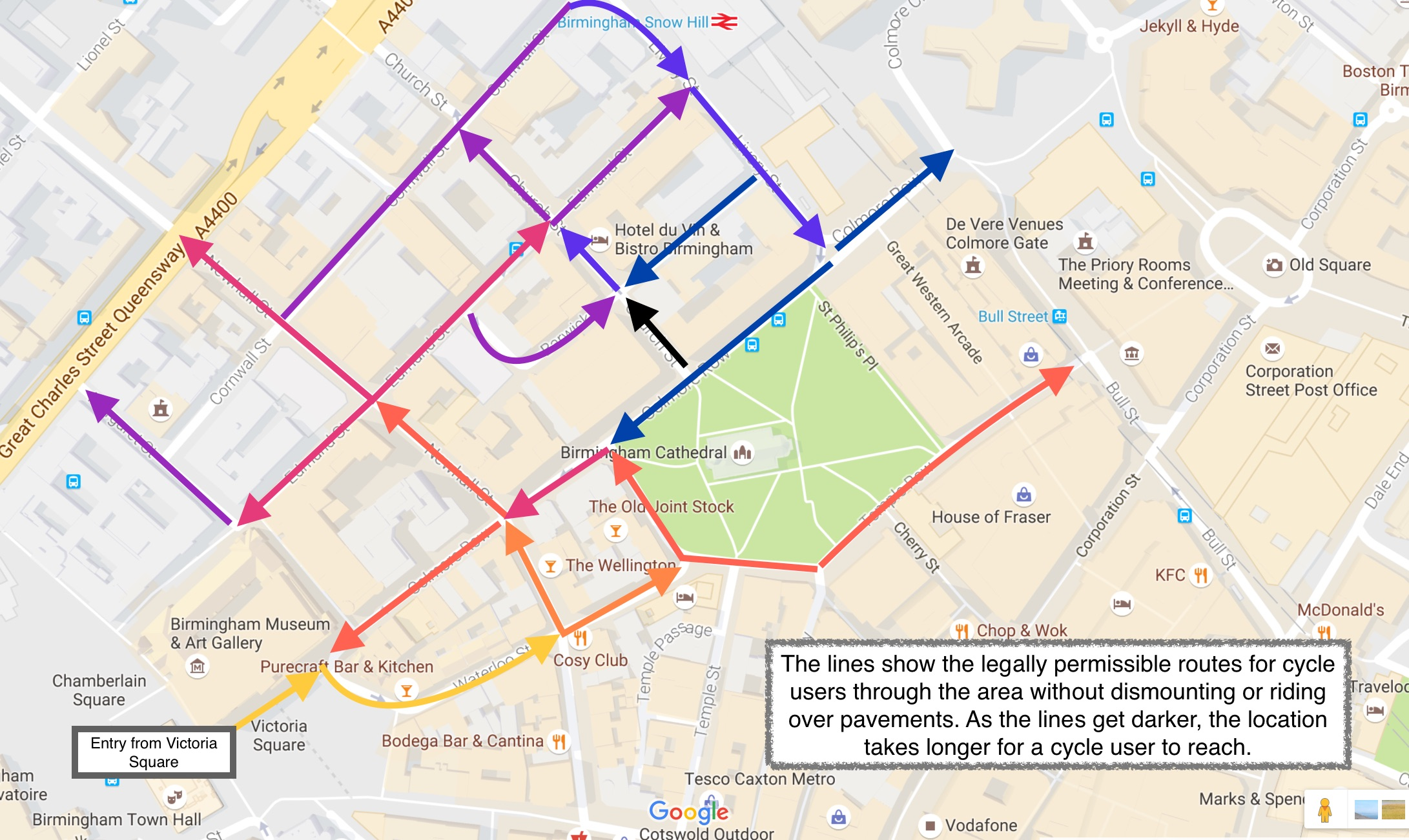 Cycle routes around Colmore Row from Victoria Square.
