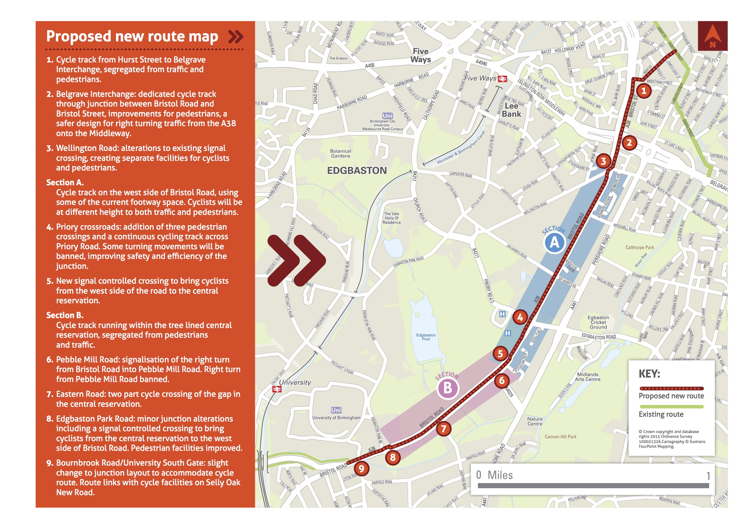 Bristol Road route annotated map