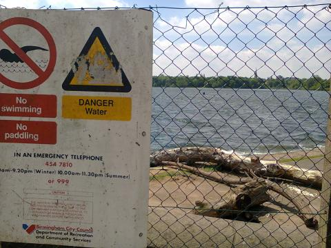 DANGER water, no swimming or paddling