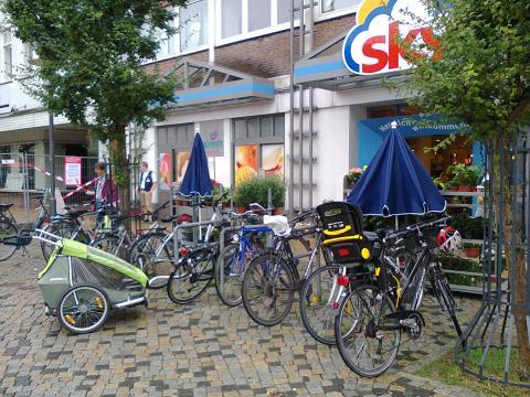 Shopping by bike in Germany