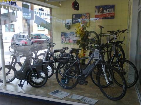 E-Bikes in a local bike shop
