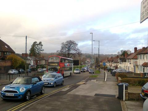Traffic jam on Harborne Lane near the New Sainsbury's at Selly Oak