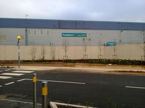 The Great Wall of Selly Oak blocks access to an adjacent retail park