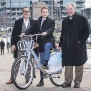 Left to right: Julian Scriven, Andy Street and cllr Roger Lawrence unveil the new cycle share scheme for the West Midlands