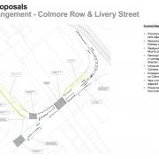 Diagram of changes to Colmore Row, from the published proposal.