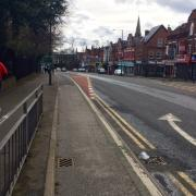 An old hybrid cycle-track on Wilmslow Road