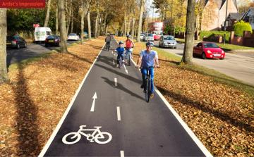 Artists impression of the cycle track along the central reservation.