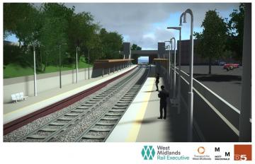 A CGI image of the proposed Kings Heath railway station.